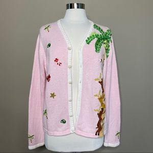 Tropical Christmas Embellished Cardigan Sweater